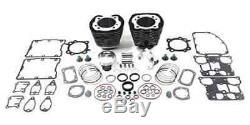 Black 95 Twin Cam Big Bore Cylinder and Piston Kit For Harley TC-88 2000-2006