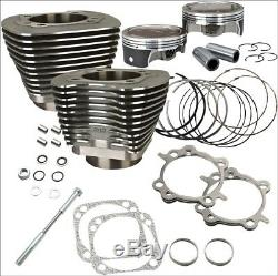 S&S Cycle 124 CI Big Bore Cylinder Kit Black 11.41 Compression 07-16 Harley